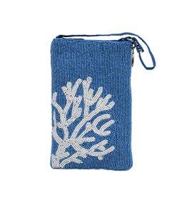 Blue Coral Beaded Club Bag