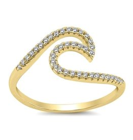Sidney Imports YG Sterling CZ Wave Ring