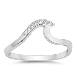 Sidney Imports Sterling 7 CZ Wave Ring