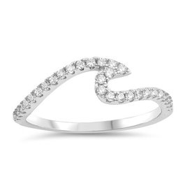 Sidney Imports Sterling CZ Wave Ring