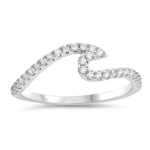 Sterling Wave Ring - Full CZ