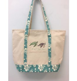 Mariasch Turtles & Teal Floral Canvas Tote