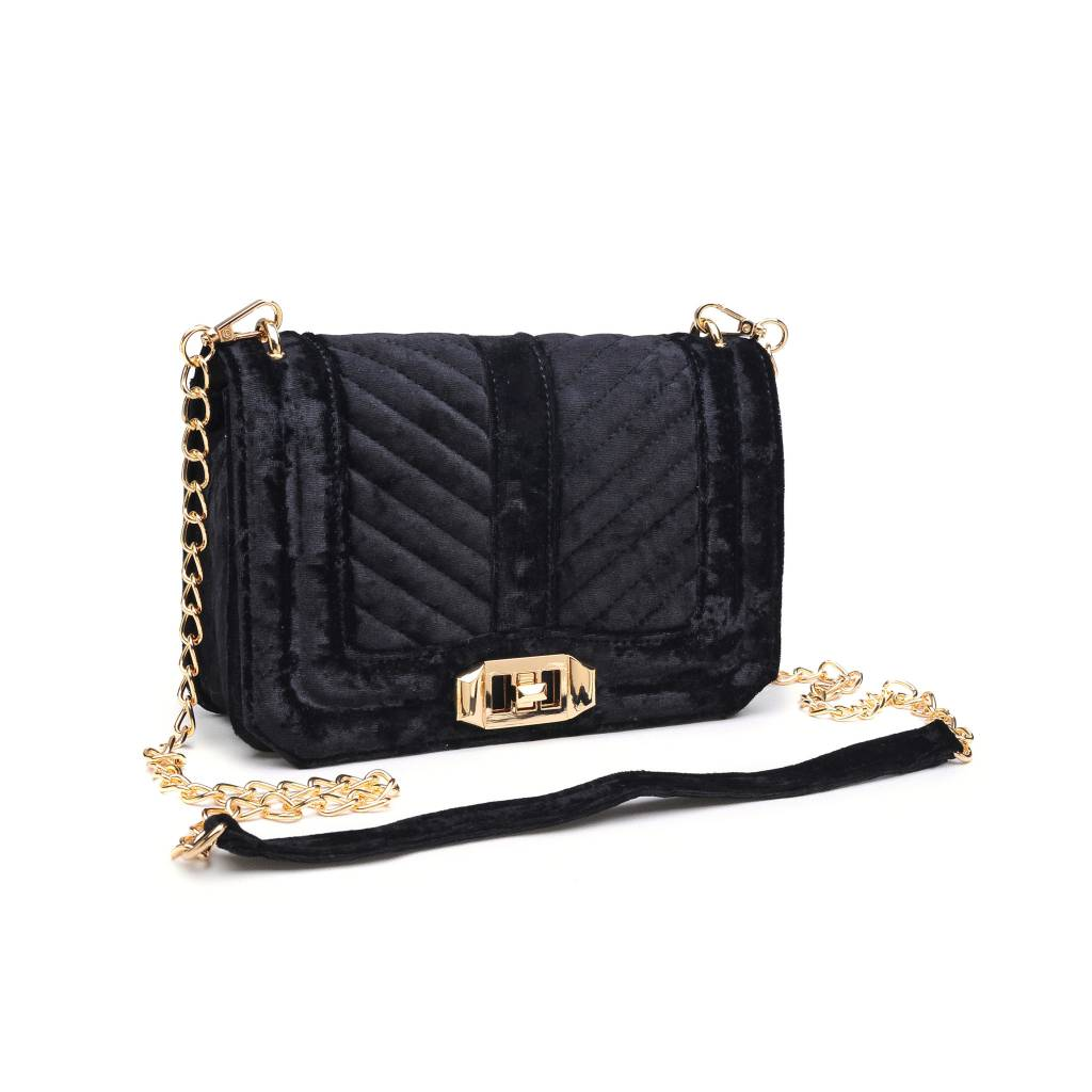 Black Velvet & Gold Chain Purse