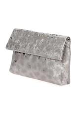 Silver Velvet Fold Over Clutch