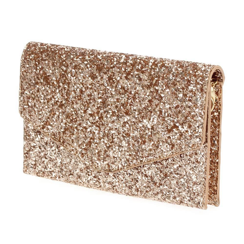 Glitter Fold Over Clutch-Rose Gold