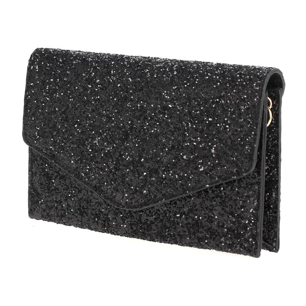 Glitter Fold Over Clutch-Black