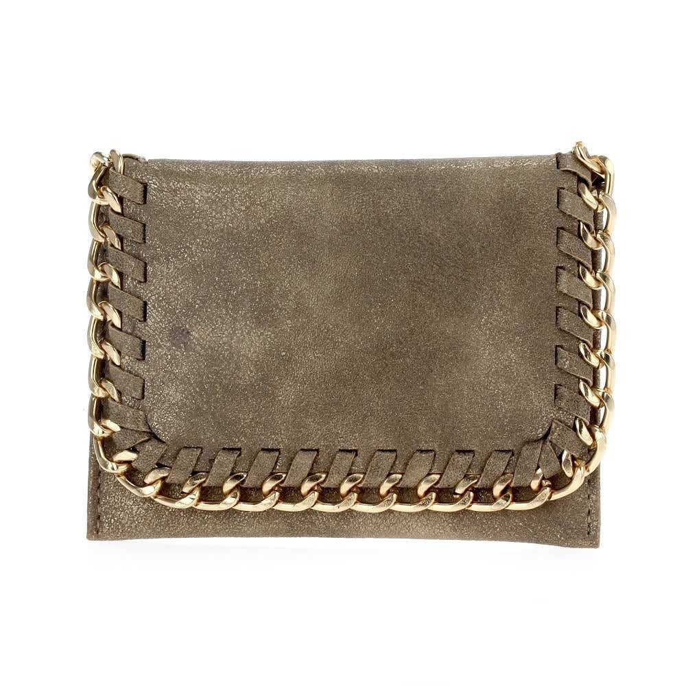 Matte Gold Foldover Chain Wallet