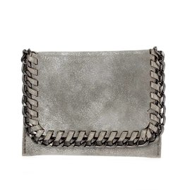 Matte Silver Foldover Chain Wallet