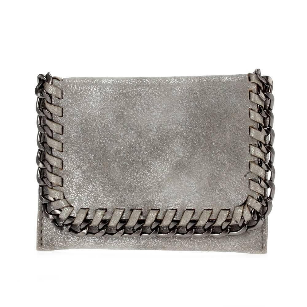 Matte Silver Foldover Chain Wallet