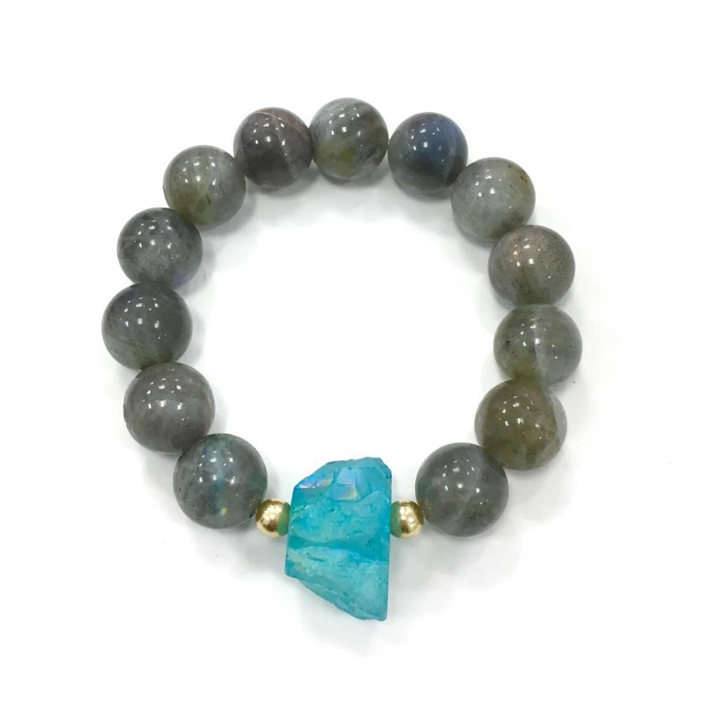 Labradorite & Aqua Electroplated Agate Bracelet