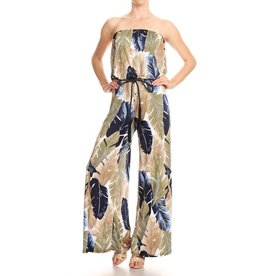Green/Blue/Taupe Feather Strapless Jumpsuit with Rope Belt