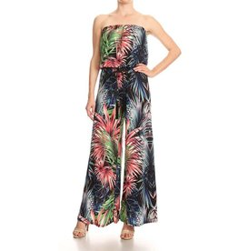 Multi Palm Print Strapless Jumpsuit with Rope Belt