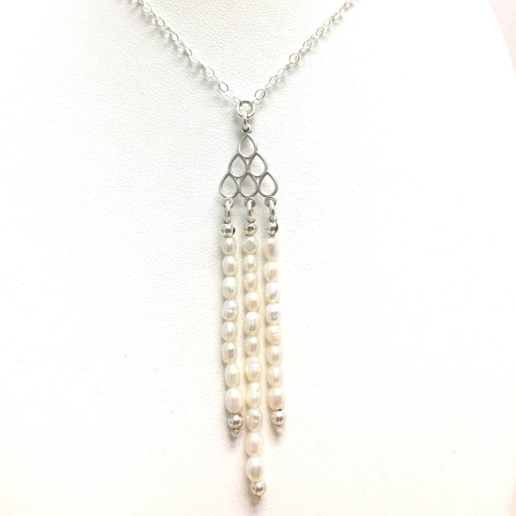 Triple Pearl Tassel Drop Necklace