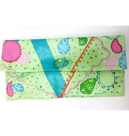 Connie Duke Hand Painted Canvas Clutch Paisley with Glass Fish