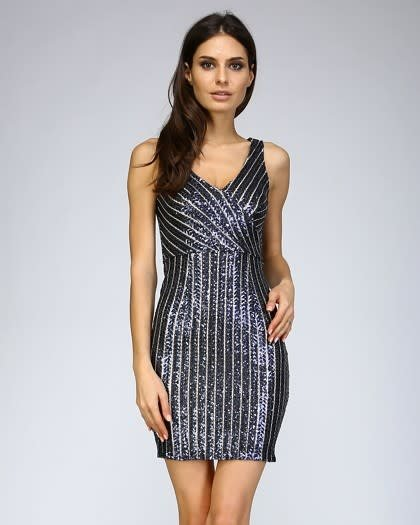 V-Neck Sequin Navy Dress