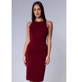 Midi Body Con Dress-WINE