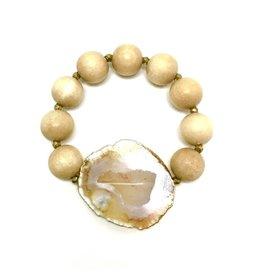 LG Agate Slice Hematite Wood Bracelet