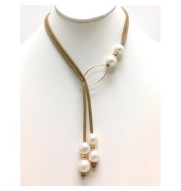FWP & Gold Oval Glitter Suede Lariat