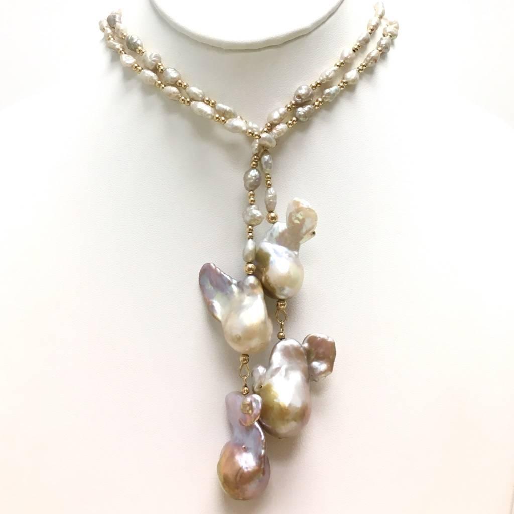 Champagne Baroque Pearl & Gold Hematite Lartiat
