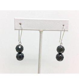 Hematite and Dark Grey Pearl Earrings