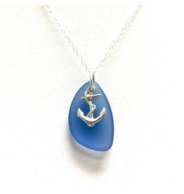 Sea Glass SS Small Anchor Pendant, Blue