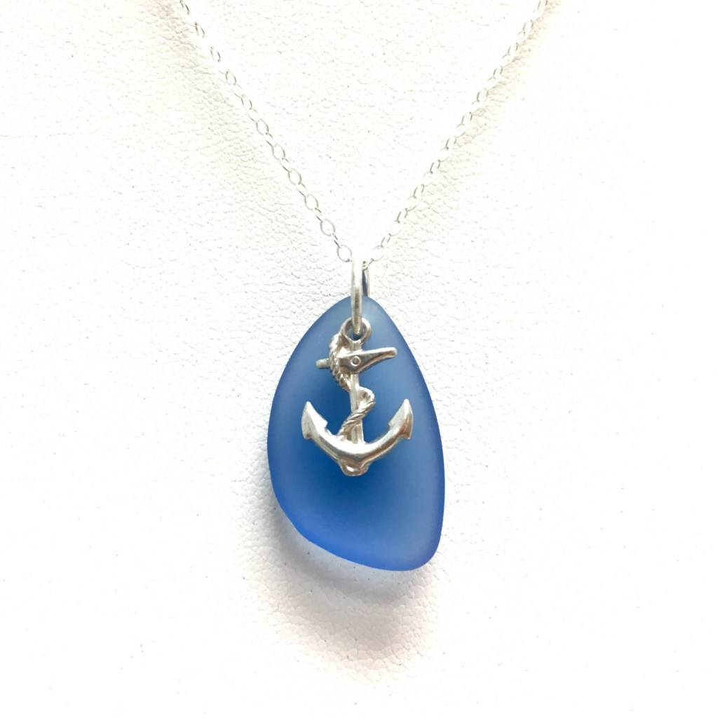Sea Glass SS Small Anchor Pendant, Blue
