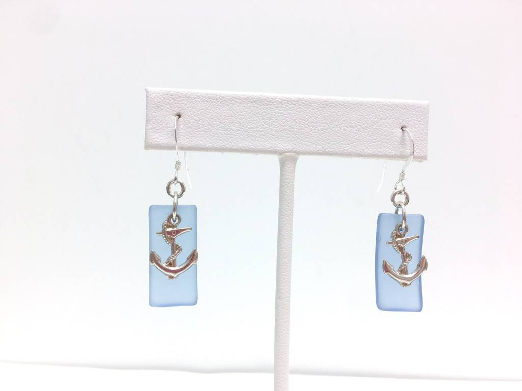 Sea Glass SS Rectangle Anchor Earrings, Blue