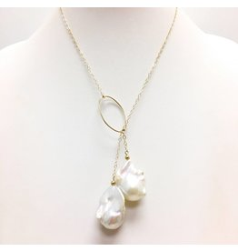 A+ White Baroque Pearl on Gold FIlled Chain