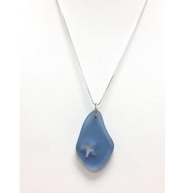 Sea Glass SS Cutout Starfish Pendant, Blue