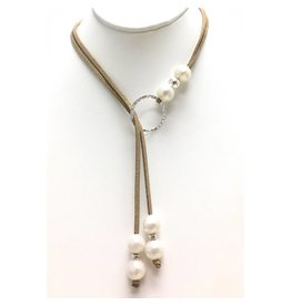 FWP, Silver & Gold Glitter Suede Lariat