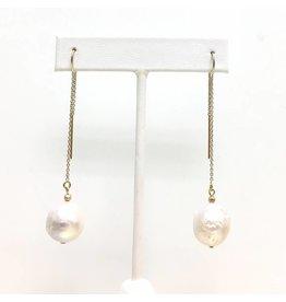 Akoya Baroque Pearl Gold Threaders