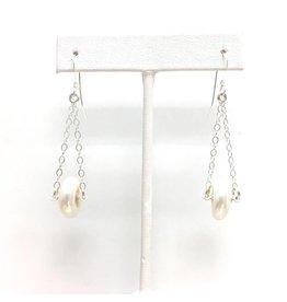 Disc Pearl Chain Earrings
