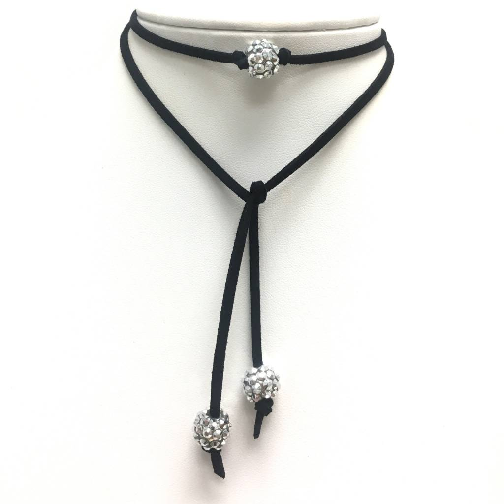 Crystal Ball Choker on Black Leather Suede