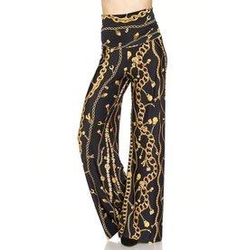 2NE1 Black & Gold Chain Print Palazzos