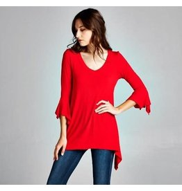 Emerald Ruffle Sleeve Tunic - Red