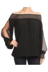 Off Shoulder Black Crochet Top