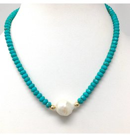 Baroque Pearl & Turquoise Necklace