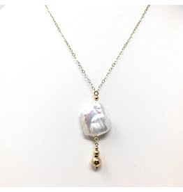 Keshi Blister Pearl Drop Necklace