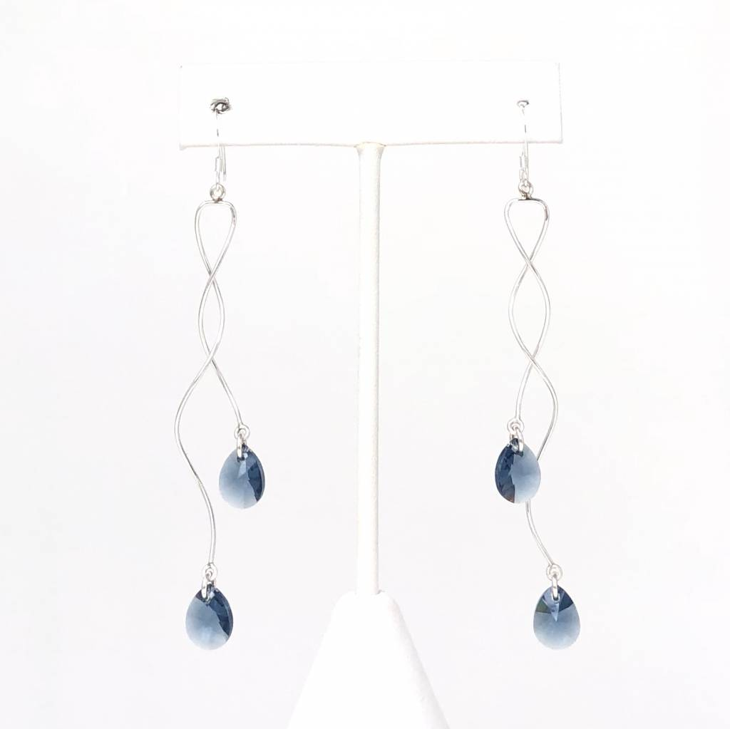 Sterling Spiral Earrings with Blue Crystals (Long)