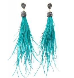 Teal Feather Shoulder Duster Earrings
