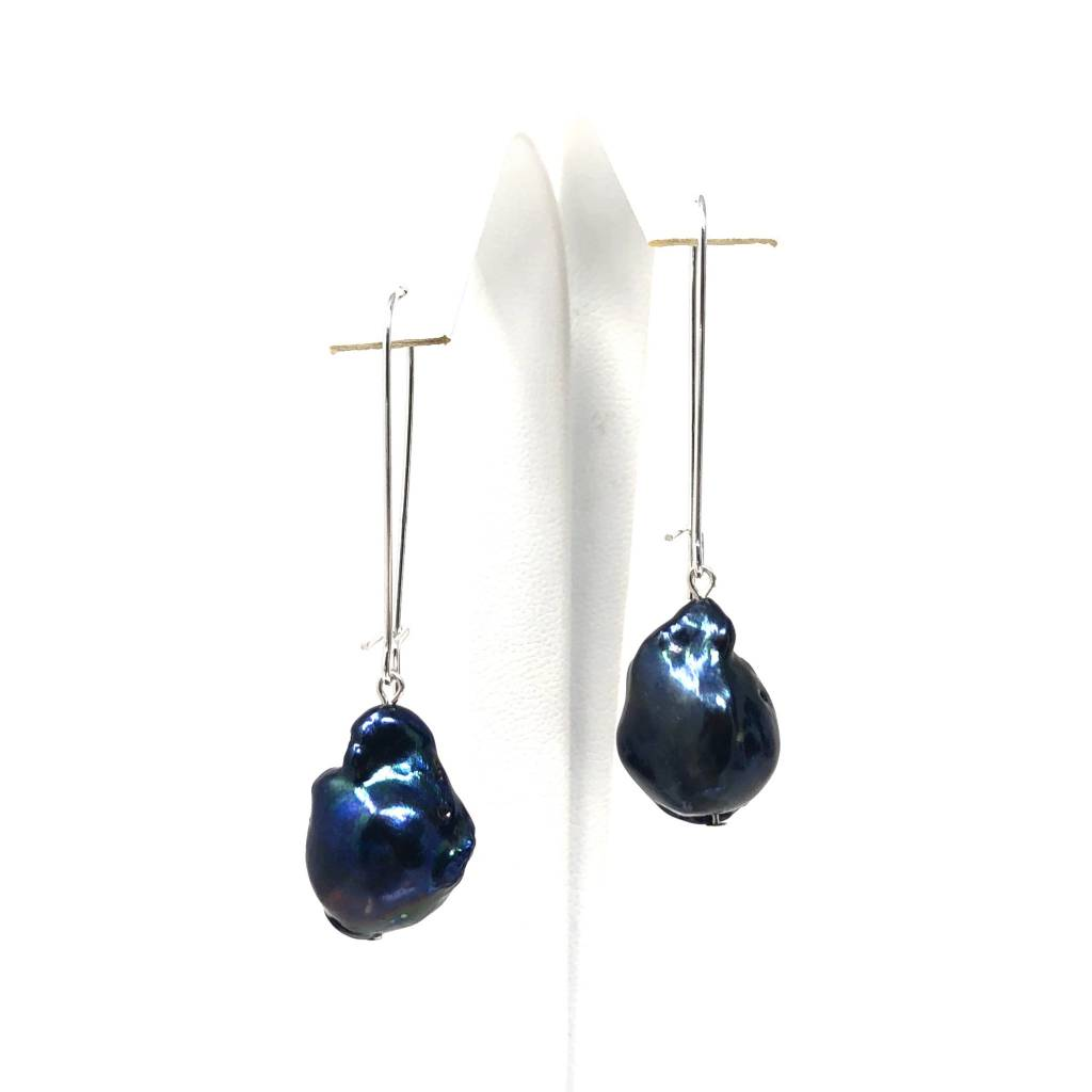 Deep Blue Baroque Pearl Earrings