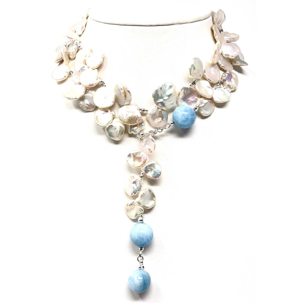 Keshi Pearl & Aquamarine Lariat/Necklace