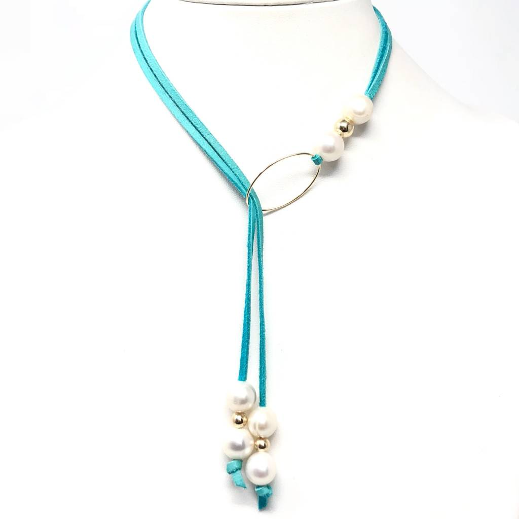 FWP & Teal Leather Gold Lariat