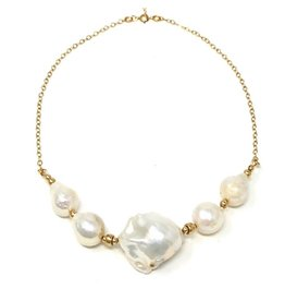 A++ Baroque Pearl Gold Chain Necklace
