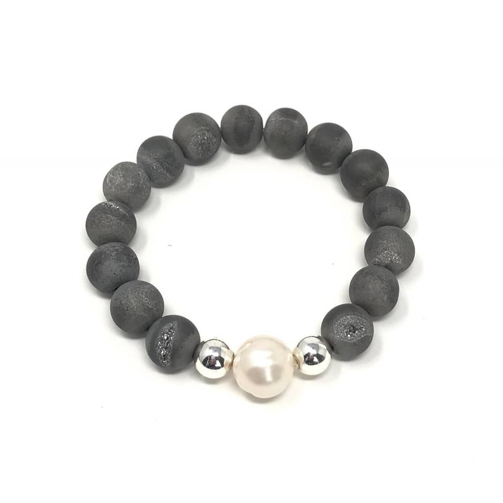 Grey Druzy Agate & FWP Bracelet