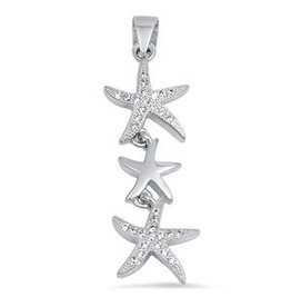 Triple CZ Starfish Pendant