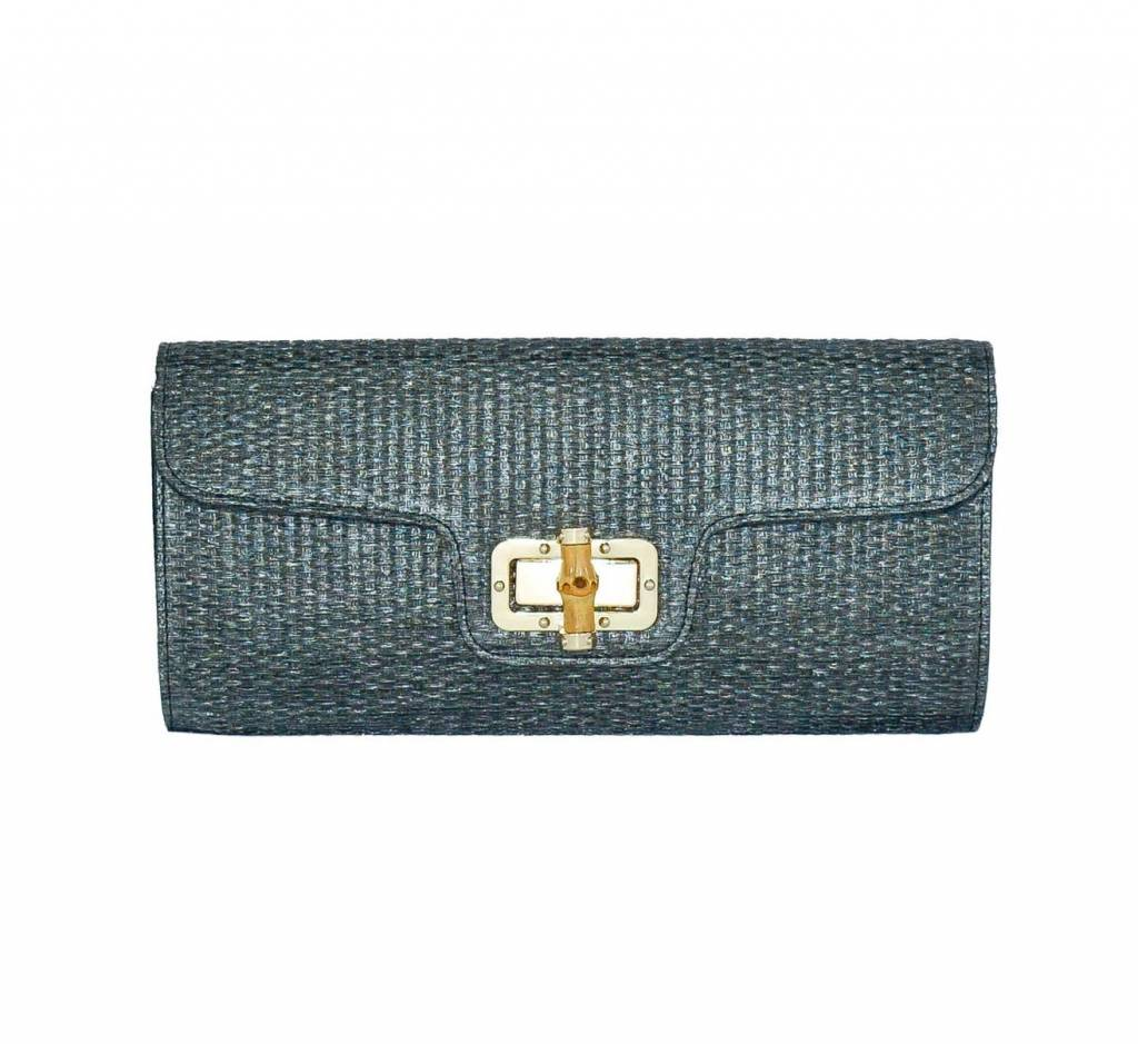 Black Woven Clutch with Bamboo Turn