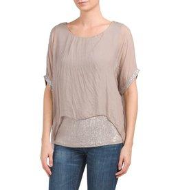 Tan Silk Sequin Layer Top