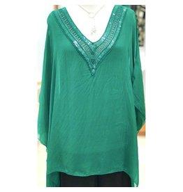 Emerald V-Neck Sequin Top