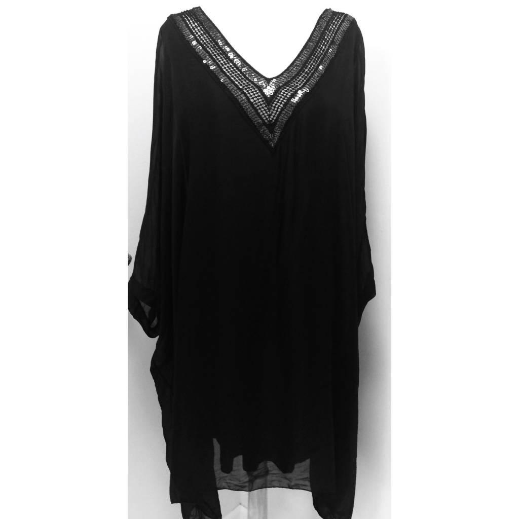 Black V-Neck Sequin Dress